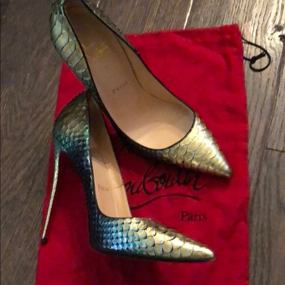 100% authentic 6fc78 557ac Christian Louboutin Green snake skin So Late Heels